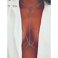 여성용 바디 쥬얼리 바디 체인 / 배꼽 체인 패션 구리 라인석 Geometric Shape 보석류 제품 일상복