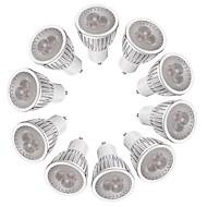 お買い得  LED スポットライト-10個 3W 260-300lm GU10 LEDスポットライト MR16 3 LEDビーズ ハイパワーLED 調光可能 温白色 ホワイト 220-240V
