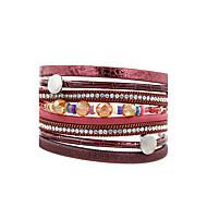 Жен. Кожаные браслеты Бижутерия Мода Винтаж Богемия Стиль Турецкий Кристаллы Кожа В форме квадрата Бижутерия НазначениеСвадьба Вечерние