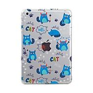 olcso iPad kiegészítők-Case Kompatibilitás Apple iPad Air 2 iPad Air iPad Mini 4 iPad Mini 3/2/1 iPad 4/3/2 Átlátszó Minta Fekete tok Csempe Cica Puha TPU mert