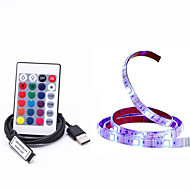 1M DIY 5050 RGB LED Strip Waterproof DC 5V USB LED Light Strips Flexible Tape 1M add Remote For TV Background