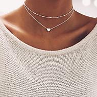 hesapli Mücevher&Saatler-Kadın's Koraliki Gerdanlıklar - Kalp Temel Altın, Gümüş Kolyeler Mücevher Uyumluluk Düğün, Parti, Doğumgünü