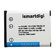 Ismartdigi EL10 3.7V 750mAh Camera Battery for Nikon EN-EL10 S200 S230 S3000 S4000 S700 NP45 40B 42B