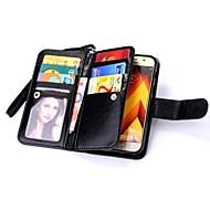 olcso -Case Kompatibilitás Samsung Galaxy A5(2017) A3(2017) Pénztárca Kártyatartó Flip Mágneses Teljes védelem Tömör szín Kemény Valódi bőr mert