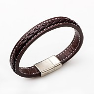 cheap Jewelry & Watches-Leather Bracelet - Leather Punk, Simple Style, Fashion Bracelet Black / Brown For Casual