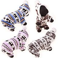 강아지 후드 점프 수트 스웨터 겨울 의류 강아지 의류 캐쥬얼/데일리 순록 그레이 커피 블루 핑크 표범 코스츔 애완 동물