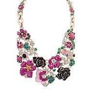 Жен. Заявление ожерелья Стразы В форме цветка Сплав Цветочный дизайн Цветы Симпатичные Стиль Цветочный принт Бижутерия Назначение Для