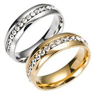 baratos Anéis-Homens Anel de banda - Aço Inoxidável Fashion 6 / 7 / 8 Dourado / Prata Para Diário