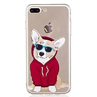 Недорогие Сегодняшнее предложение-Кейс для Назначение Apple iPhone 7 Plus iPhone 7 Прозрачный С узором Кейс на заднюю панель С собакой Мягкий ТПУ для iPhone 7 Plus iPhone