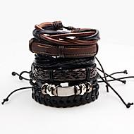 Men's Wrap Bracelet / Leather Bracelet - Leather Rock Bracelet Black For Stage / Club
