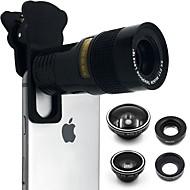 abordables Fotografía con Smartphone-Lente de teléfono móvil Ojo de Pez / Enfoque Largo / Gran Angular Vidrio Macro 10X iPad / iPhone / Samsung