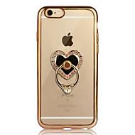 Назначение iPhone 6 iPhone 6 Plus Чехлы панели Покрытие Кольца-держатели Прозрачный Задняя крышка Кейс для С сердцем Мягкий Термопластик