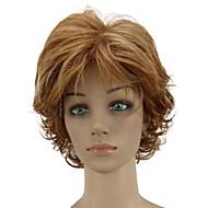 Kvinder Syntetiske parykker Lokkløs Kort Krøllete Gyldenbrun Hår med highlights Lagvis frisyre Naturlig parykk costume Parykker