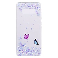 billige Etuier / covers til Galaxy Note-modellerne-Etui Til Samsung Galaxy Note 8 Note 5 Transparent Mønster Bagcover Sommerfugl Blødt TPU for Note 8 Note 5