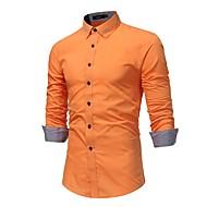 男性用 プラスサイズ シャツ ソリッド コットン / 長袖