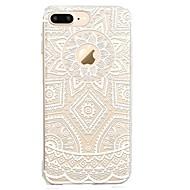 Недорогие Кейсы для iPhone 8-Кейс для Назначение Apple iPhone X iPhone 8 Прозрачный С узором Кейс на заднюю панель Кружева Печать Мягкий ТПУ для iPhone X iPhone 8