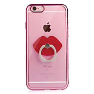Назначение iPhone 6 iPhone 6 Plus Чехлы панели Покрытие Кольца-держатели Прозрачный Задняя крышка Кейс для Сплошной цвет Мягкий