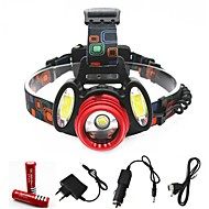 Lanternas de Cabeça Farol Dianteiro LED 3000 lm 4.0 Modo Cree XM-L T6 Cree R2 Com Pilhas e Carregadores Zoomable Portátil Profissional