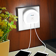Brelong ledet nattlys med dobbelt USB-kontakt (5v)&Lysbryter sensor eu / us 110-240v hvit