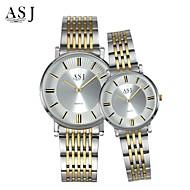 billige -ASJ Par Armbåndsur Japansk Hverdagsklokke Rustfritt stål Band Sjarm / Mote Sølv
