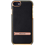 Недорогие Кейсы для iPhone 8 Plus-Кейс для Назначение Apple iPhone 8 iPhone 7 со стендом Кейс на заднюю панель Сплошной цвет Твердый Настоящая кожа для iPhone 8 Pluss
