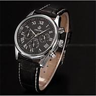 男性用 機械式時計 自動巻き レザー ブラック 30 m 耐水 ハンズ ブラック