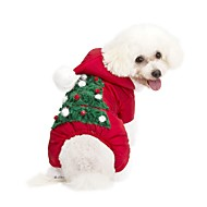 abordables Disfraces de Navidad para mascotas-Perro Saco y Capucha / Mono Ropa para Perro Flores / Botánica Rojo Tejido Disfraz Para mascotas Casual / Diario / Mantiene abrigado / Navidad