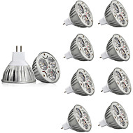 10 pcs 3W MR16 LED Spotlight MR16 3 leds High Power LED Decorative Warm White Cold White 250lm 2200-6500K AC/DC 12V