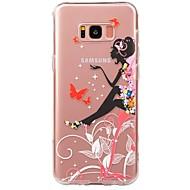 Недорогие Чехлы и кейсы для Galaxy S7 Edge-Кейс для Назначение SSamsung Galaxy S8 S7 Ультратонкий Прозрачный С узором Кейс на заднюю панель Соблазнительная девушка Мягкий ТПУ для