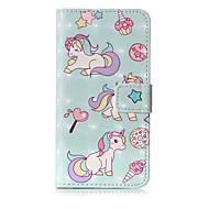 Недорогие Кейсы для iPhone 8 Plus-Кейс для Назначение Apple iPhone X iPhone 8 Бумажник для карт Кошелек со стендом Флип С узором Чехол единорогом Твердый Кожа PU для