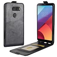 お買い得  携帯電話ケース-ケース 用途 LG LG K10 V30 K10(2017) カードホルダー フリップ フルボディーケース 純色 ハード PUレザー のために LG V30 LG Q6 LG K10(2017)