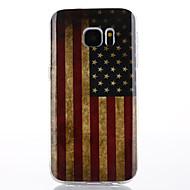 tanie Etui / Pokrowce do Samsunga Galaxy S-Kılıf Na Samsung Galaxy S7 edge S7 IMD Czarne etui Flaga Miękkie TPU na S7 edge S7