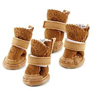 강아지 신발 & 부츠 스노우 부츠 따뜻함 유지 패션 솔리드 브라운 핑크 애완 동물