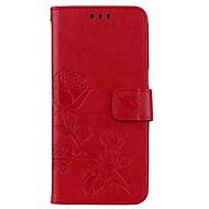 Недорогие Чехлы и кейсы для Galaxy S7 Edge-Кейс для Назначение SSamsung Galaxy S8 Plus S8 Бумажник для карт Кошелек со стендом Флип Магнитный С узором Рельефный Чехол Цветы Твердый