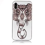 Недорогие Кейсы для iPhone 8 Plus-Кейс для Назначение Apple iPhone X iPhone 8 Ультратонкий Прозрачный С узором Рельефный Кейс на заднюю панель Слон Мягкий ТПУ для iPhone X