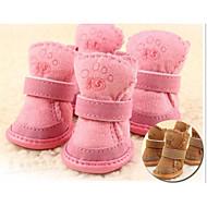 voordelige Dierbenodigdheden accessoires-Kat Hond Pet Schoenen Platte schoenen Houd Warm Vrije tijd Effen Bruin Roze Voor huisdieren