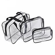 3pcs sac cosmétique ensemble transparent sac de beauté sacs à main imperméables sacs de lavage dames composent