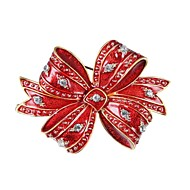 cheap Christmas Jewelry-Women's Brooches - Zircon, Gold Plated Bowknot Ladies Brooch Jewelry Red For Christmas / New Year