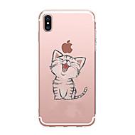 Недорогие Кейсы для iPhone 8 Plus-Кейс для Назначение Apple iPhone X iPhone 8 iPhone 8 Plus Ультратонкий Прозрачный С узором Задняя крышка Кот Мягкий TPU для iPhone X