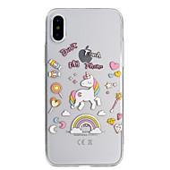 Недорогие Кейсы для iPhone 8-Кейс для Назначение Apple iPhone X / iPhone 8 Ультратонкий / Полупрозрачный / С узором Кейс на заднюю панель единорогом Мягкий ТПУ для iPhone X / iPhone 8 Pluss / iPhone 8
