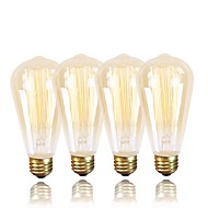 Χαμηλού Κόστους -GMY® 4pcs 60W E26/E27 ST64 Θερμό Λευκό 2200 κ Ρετρό Με ροοστάτη Διακοσμητικό Λαμπτήρας πυρακτώσεως Vintage Edison AC 220-240V V