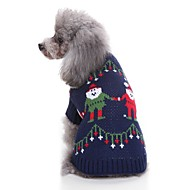 Cat Dog Sweaters Dog Clothes Casual/Daily Christmas Christmas Dark Blue Costume For Pets