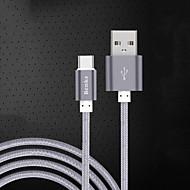 abordables Benks-USB 2.0 Type-C Cable Cable de Carga Cable Cargador Datos y Sincronización Trenzado Cable Para Samsung Huawei Xiaomi 100 cm Nailon