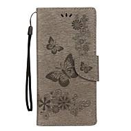 Недорогие Чехлы и кейсы для Galaxy Note-Кейс для Назначение SSamsung Galaxy Note 8 Бумажник для карт Кошелек со стендом Флип Рельефный Чехол Бабочка Твердый Кожа PU для Note 8