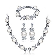cheap -Women's Cubic Zirconia Jewelry Set Imitation Pearl, Zircon, Silver Plated Leaf, Flower Ladies, Elegant Include White For Wedding Evening Party / Earrings