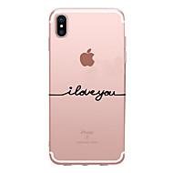 Недорогие Кейсы для iPhone 8 Plus-Кейс для Назначение Apple iPhone X iPhone 8 Прозрачный С узором Задняя крышка Слова / выражения Мягкий TPU для iPhone X iPhone 8 Pluss