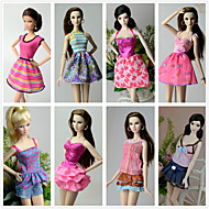 cheap Dolls & Stuffed Toys-Princess Costumes For Barbie Doll Polyester Skirts Top Dress Pants For Girl's Doll Toy