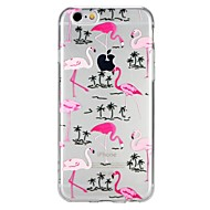 Недорогие Кейсы для iPhone 8 Plus-Кейс для Назначение Apple iPhone 6 iPhone 7 Полупрозрачный С узором Рельефный Кейс на заднюю панель Фламинго Фрукты Мультипликация Мягкий