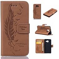 Недорогие Чехлы и кейсы для Galaxy А-Кейс для Назначение SSamsung Galaxy A5(2016) A3(2016) Бумажник для карт Кошелек со стендом Флип Рельефный  Перья Твердый для