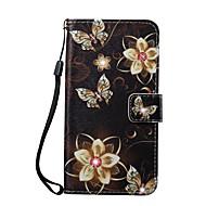 Недорогие Кейсы для iPhone 8 Plus-Кейс для Назначение Apple iPhone 8 iPhone 8 Plus Кошелек Бумажник для карт Стразы со стендом С узором Чехол Бабочка Цветы Твердый